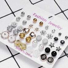 12-20 Pairs Fashion Women Earrings Set Pearl Crystal Stud Earrings Boho Geometric Round Earrings Female Simple Trendy Jewelry