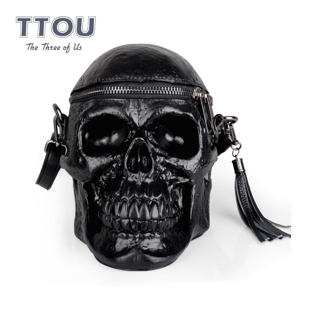 Herald mode nouveauté femmes squelette tête sac noir sac à main mâle Halloween paquet gland sacoche paquets crâne sacs