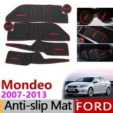 Для Ford Mondeo 2007-2012 MK4 коврик для дверного паза Противоскользящий резиновый подстаканник ворота Слот колодки аксессуары 2008 2009 2010 2011 2013
