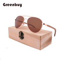 Fashion Retro Drive Aviation Sunglasses Wooden Metal Women M