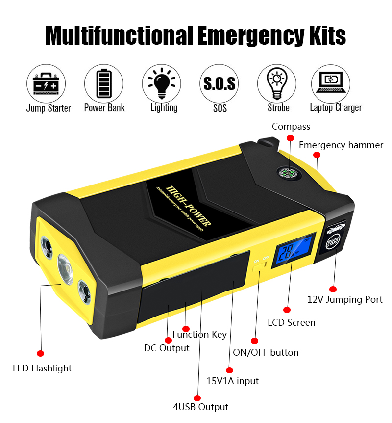 Car-Charger Car-Booster-Booster Power-Bank Jump-Starter Multifunctional 1000A Peak WINTUWAY