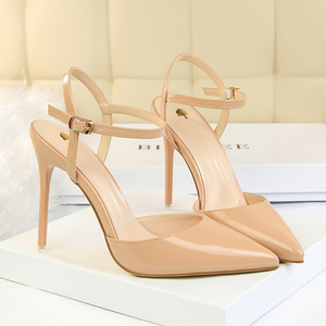 Image 3 - D & Henlu קרסול רצועת סנדלי נשים נעלי עקבים גבוהים וו מחודדת פגיון לכה pupms סקסי קיץ למסיבה חתונה
