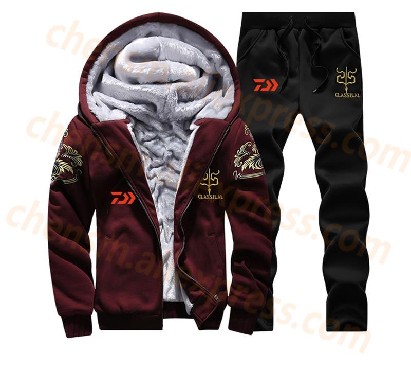 2020 DAIWA Fleece Fishing Clothing Set Spring Autumn Outdoor Sport Camouflage Hiking Fishing Shirt And Pants Men Fishing Jacket
