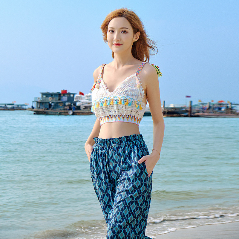 Photo Shoot 2019 Plaid Trousers High-waisted Loose Pants Women's Summer Ethnic-Style Bohemian Holiday Beach Shorts
