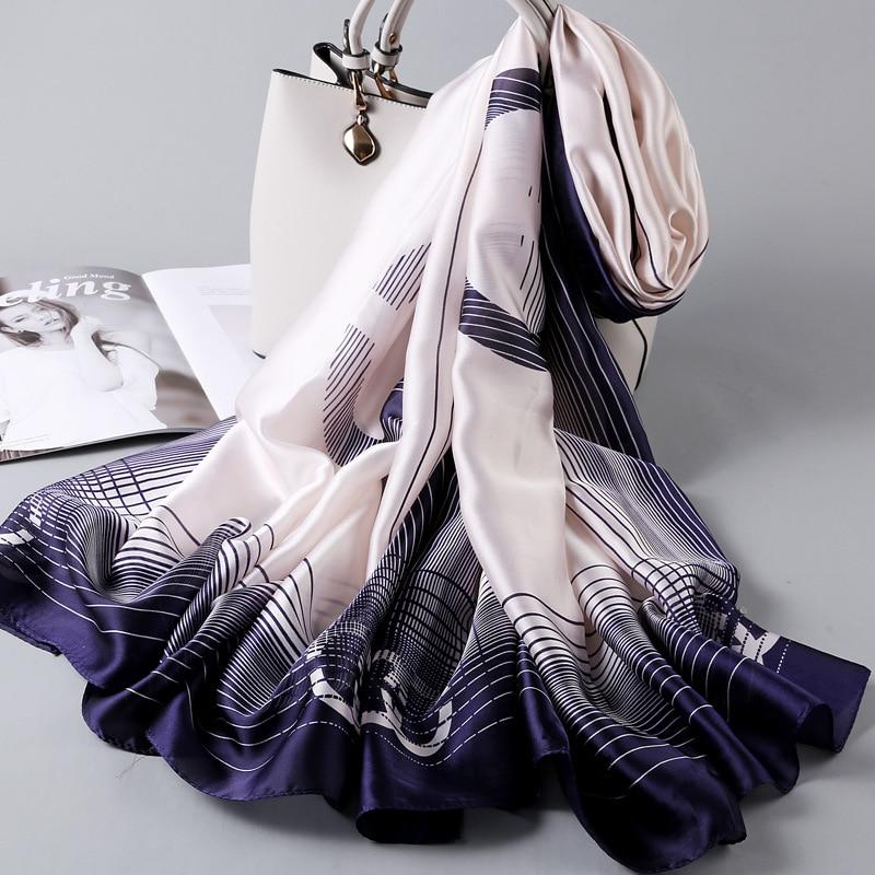 2020 New Korean Version Silk Scarf Women Thin Scarf Joker Temperament Multi-Functional Long Style Western Fashion Beach Shawl