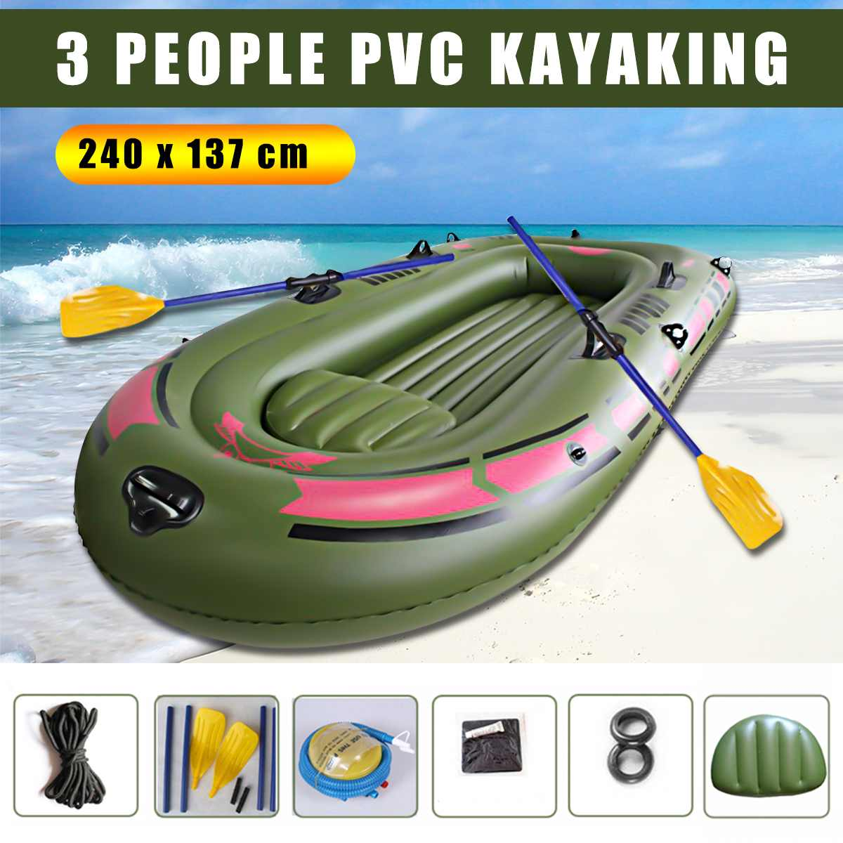 240x137cm 3 Person Inflatable Rowing Boat Bearing 100kg Durable PVC Rubber Fishing Kayak Boat Set Drifting Sailboat Surfing Ship