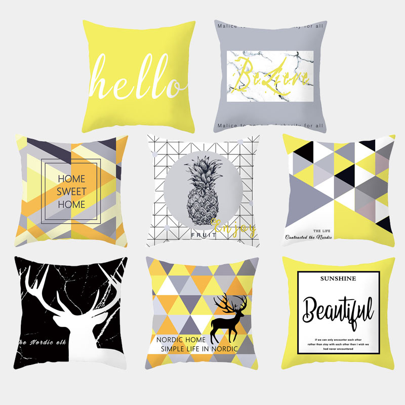 Yellow Geometric Cushion Cover Polyester Nordic Elk Letter Print Cushion Cover Throw Pillow Sofa Decoration Mat Home Decoration