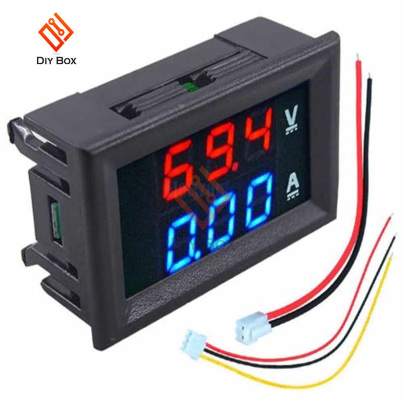 "0.56 ""Inch Mini Digitale Voltmeter Ampèremeter DC 100V 10A Rood/Blauw Panel Volt Amp Meter Voltage Tester dual LED Display Met Kabel"