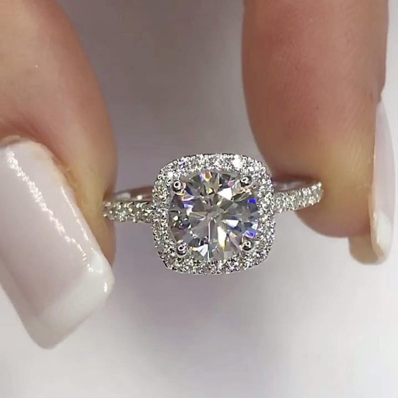 الأبدية 925 فضة خواتم الاصبع غرامة مجوهرات البطانة 2 قيراط الماس المشاركة خاتم الزواج للنساء