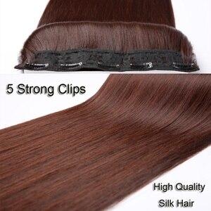 Женские термостойкие синтетические волосы AOSI, 5 размеров, 5 зажимов, длинные прямые накладные пряди, цельные черные и коричневые волосы