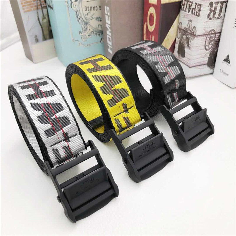 Lady Off Yellow Harajuku Embroidery Canvas Letter Double Ring Buckle Long Belt Female Belt For Women Luxury Designer Brand Belts