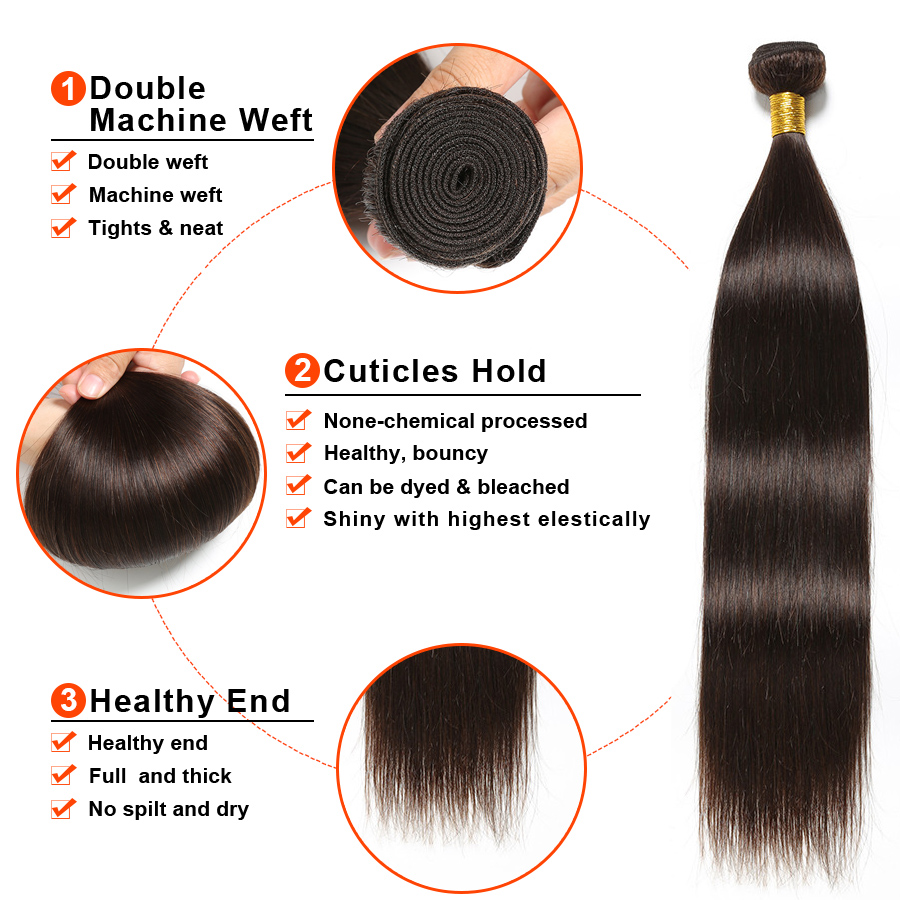 Human Hair 3 Bundles With Closure Peruvian Hair Bundles With Closure Gossip Straight Hair Bundles With Closure Non Remy  (2)