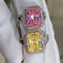2021 Шарм Прямоугольник цитрин розовый камень любимой Регулировка размера кольца для Для женщин на праздник, день рождение, хорошее ювелирно...