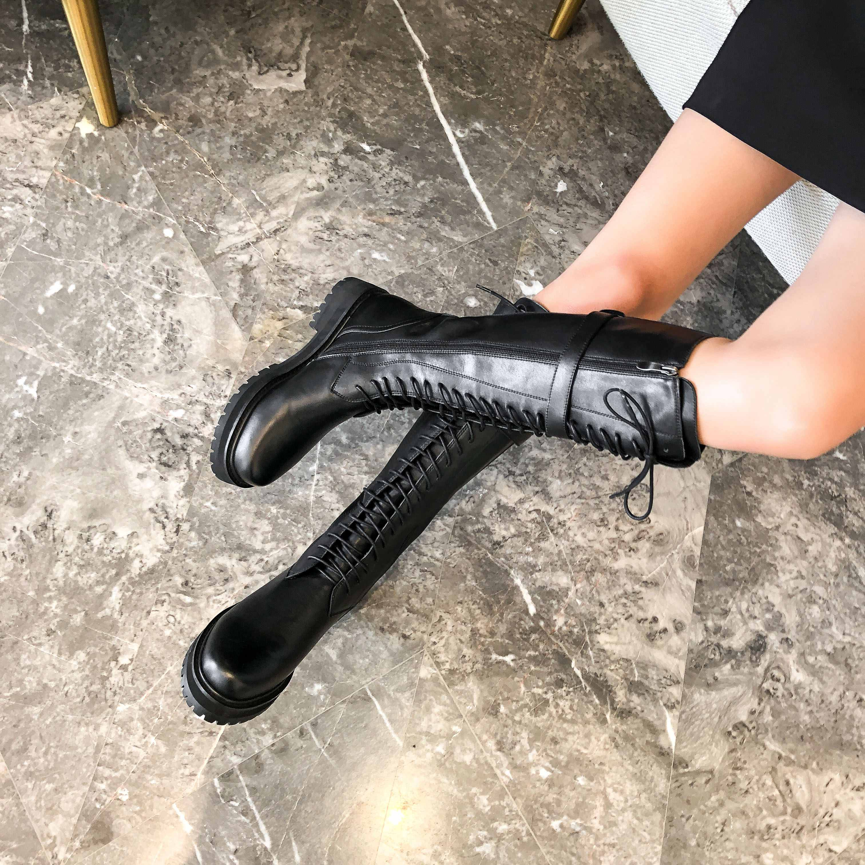 krazing pot genuine leather lace up med heels round toe punk superstar equestrian boots buckle fasteners over-the-knee boots 5