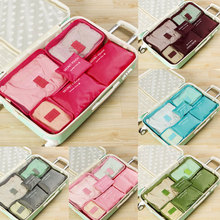 2020 Hot Selling 6Pcs Travel Clothes Storage Waterproof Bags Portable Luggage Organizer Pouch Packing Cube 8 Colors Local Stock