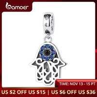 BAMOER Eye Design Series 100% 925 Sterling Silver Blue Wicked Eye Pendant Fit Bracelets & Bangles Fashion Jewelry SCC085