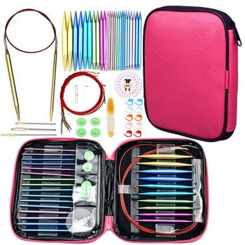 Aluminum Circular Knitting Needles Set Double Pointed with Long Cables Full Sizes Interchangeable Knit Needle