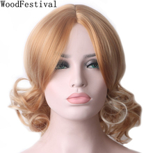 WOODFESTIVAL synthetic hair wig short curly wigs for women blonde mixed color african american heat resistant