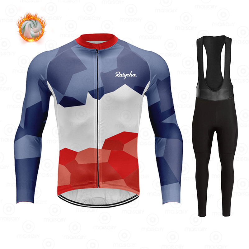 Ralvpha Winter Fleece Cycling Sets Ropa Ciclismo Men's Cycling Top Jerseys Outdoor Bike Bicycle Long Sleeve Clothing Suits 1