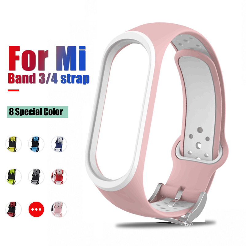For Xiaomi Mi Band 4 3 Strap Smart Accessorie Replacement Waterproof Double Color Silicone Bracelet For Mi Band4 NFC Wrist Strap