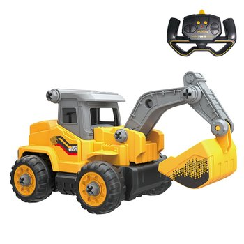 RC New 2.4G Remote Control Engineering Vehicle Diy Detachable Assembled Puzzle Excavator Creative Toy Car Model rc alloy 1 24 excavator real remote control car engineering vehicle model toy five channel excavator for children toy
