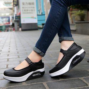 Image 5 - Chaussures de Sport à plateforme pour femmes, chaussures de course pour Jogging, en cuir PU rose, 2019
