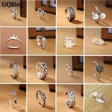 16 Uds diseño Vintage hecho a mano 925 anillos de plata esterlina para mujer ajustable flor y estrellas Bowknot Thai anillos de plata personalidad