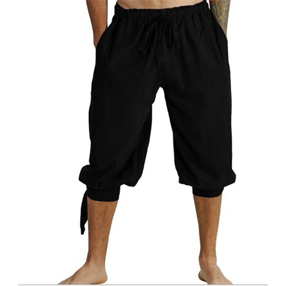 Mens Pants Cropped-Trousers Harem Elastic Summer Fashion Low Drawstring Bottoms Low-Rise