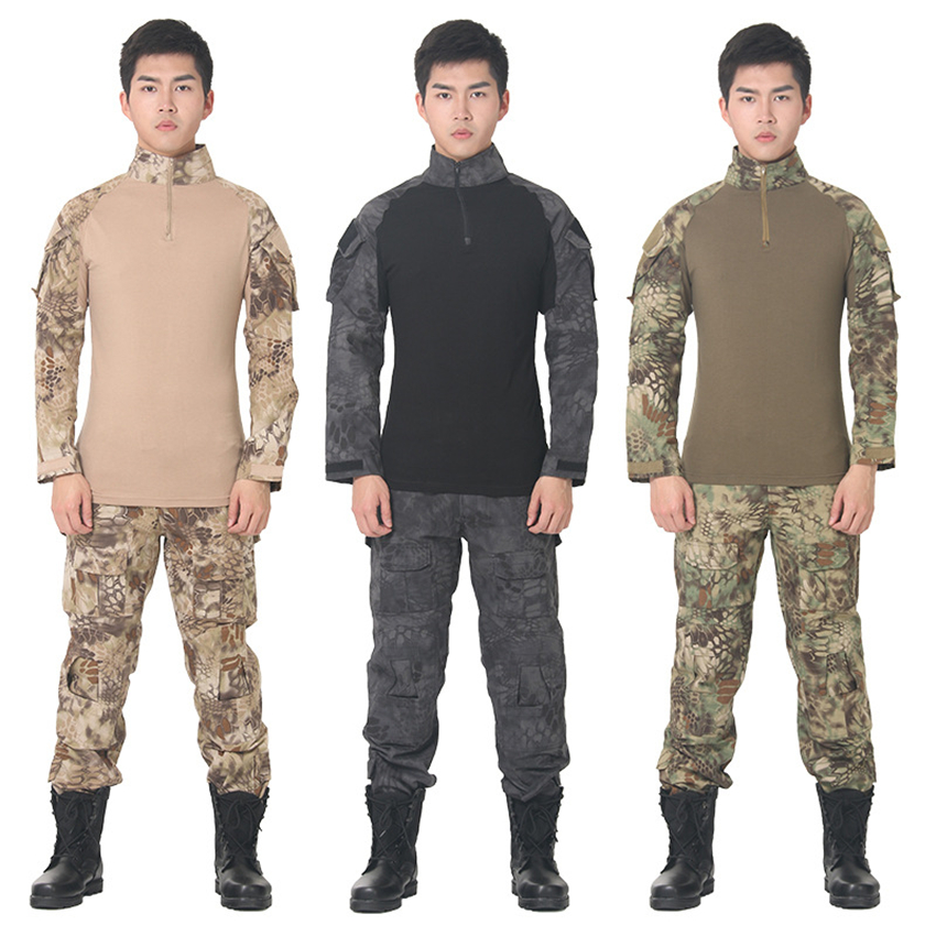 9Color Men Military Uniform Tactical Clothing Army T-shirt Camouflage Combat Shirt Soldier Long Sleeve Special Forces Tops
