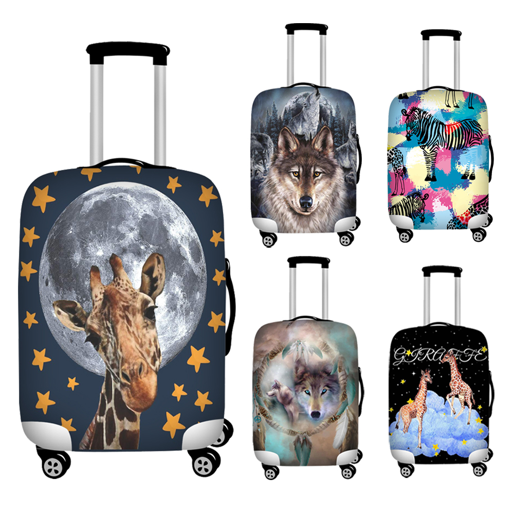 3D Animal Giraffe Luggage Cover Elasticity Case Suitcase Covers Wolf Printed Trolley Baggage Dust Protective Case Bag Cover