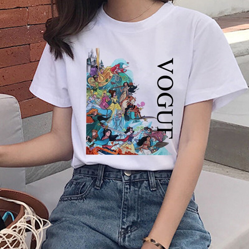 New Vogue Summer Graphic T Shirt Women Aesthetic Funny Cartoon T-shirt 90s Princess Harajuku Tshirt Korean Style Top Tees Female
