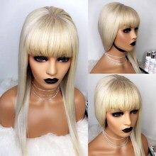 613 koronki przodu włosów ludzkich peruki z grzywką miód blond prosto 360 koronki przodu peruka przejrzyste pełne Dolago kolorowe peruki