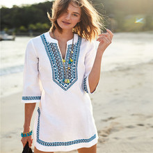 Embroidery Summer Dress Indie Folk Side Split Straight Mini Dresses 2019 Woman V-neck Half Sleeve Casual Beach Tunic