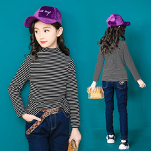Winter clothes Children Girls velvet stripe Shirt Outerwear 2019 New Kids Sweatshirt  Clothing girls undershirt