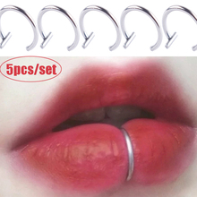 5Pcs Lip Nose Rings Neutral Punk Lip-shaped Ear Nose Clip Fake Diaphragm with Perforated Lip Hoop Body Jewelry Steel Ring