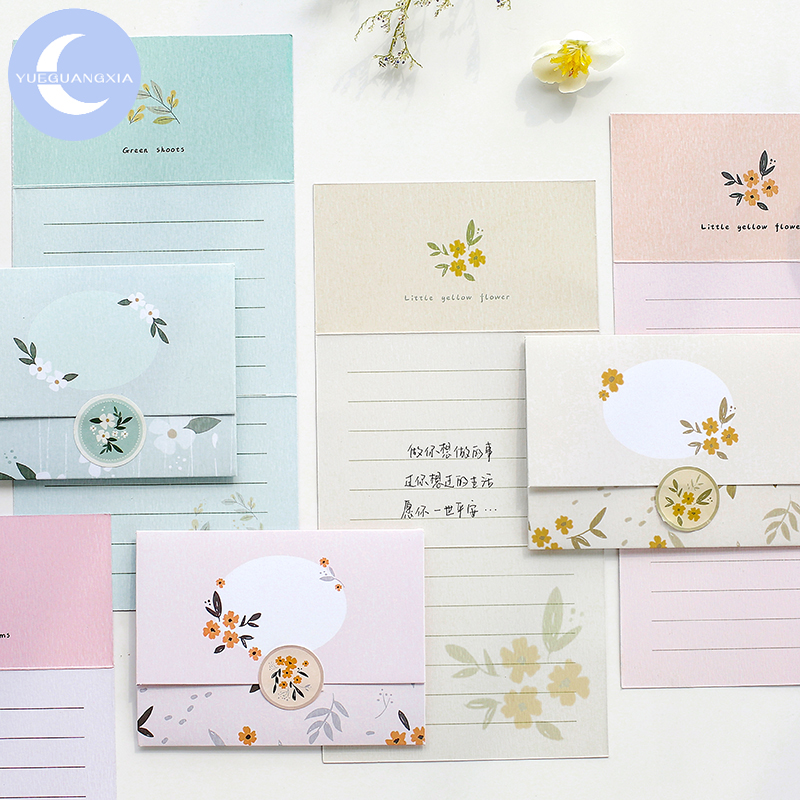 YueGuangXia Antiquities Flower Spring Greeting Card Butter Paper Envelopes With Seal Stickers Wonderful Creative Gift Envelopes