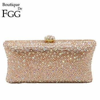 Boutique De FGG Champagne Peach Diamond Women Clutches Minaudiere Bag Wedding Cocktail Party Crystal Evening Purses Handbag