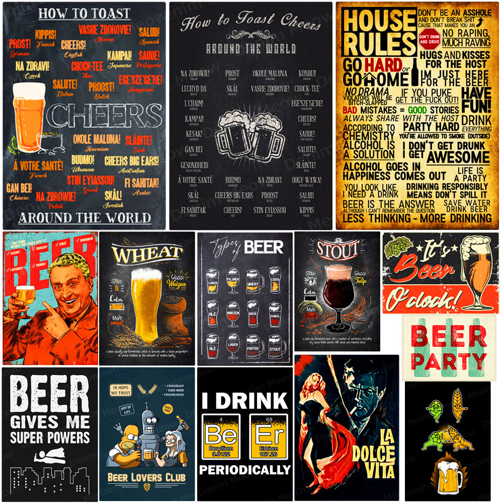 How To Toast Cheers Around The World Vintage Metal Tin Sign Pub Bar Home Decor Beer Party Plate Man Cave Wall Art Poster N277(China)