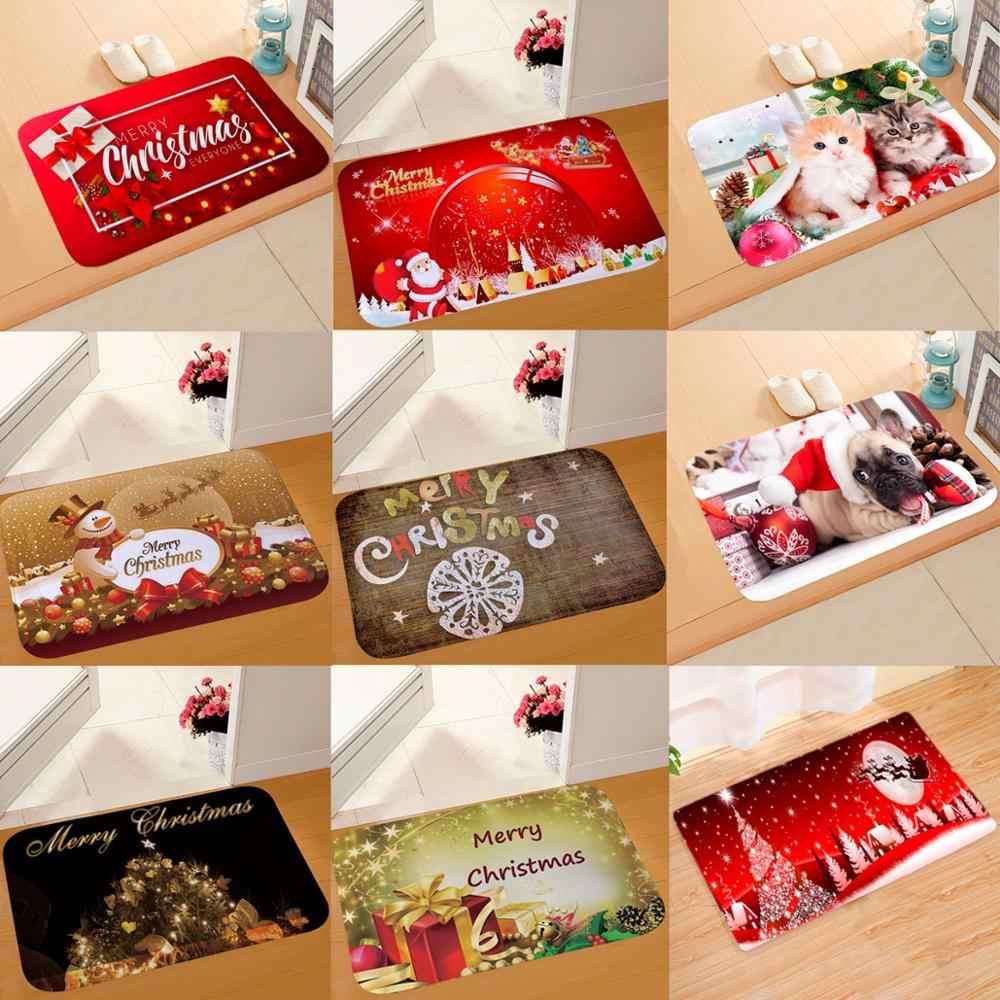 Qifu papai noel flanela de natal tapete feliz natal decoração para casa natal 2019 presente decoração de natal kerst ano novo 2020
