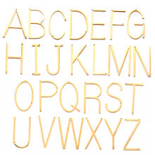 Stainless Steel Thin Big 26 English Letters Alphabet Pendant Gold Color 20x37mm Charm for Necklace DIY Jewelry Accessories 5pcs(China)
