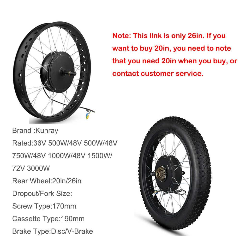 אופניים חשמליים המרת ערכת 26in חשמלי שומן אופני המרת ערכת Brushless רכזת מנוע גלגל שלג אופני מנוע 36V 48V 1500W 3000W