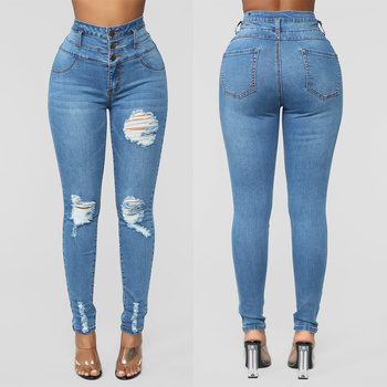 Fashion Women's High Waisted Jeans Ripped Ladies Slim Pants Basic Trousers Skinny Causal Hole Jeans Pants Stretch Denim Trousers