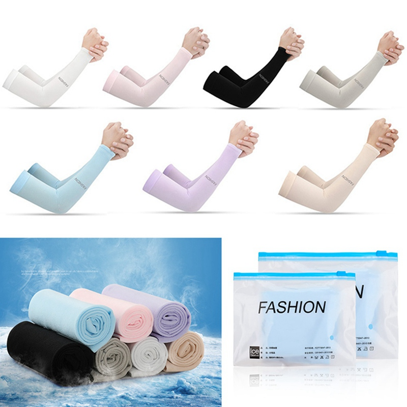 1Pair Cooling Arm Sleeves UV Sun Protection Women Men Arm Cover Knitted Fingerless Long Elbow Sleeves Outdoor Hand Protector