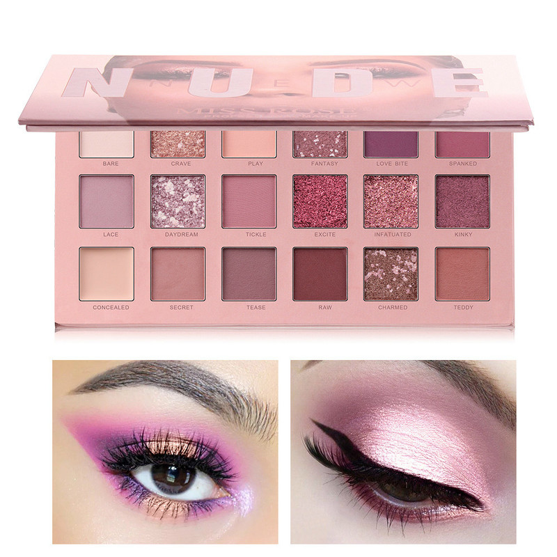 18 Color Eyeshadow Huda Mashed Potatoes Eyeshadow Pearly-lustre Matte Sunset Desert Rose Eyeshadow Tray