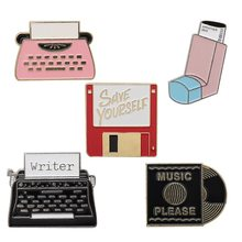 Cd Record Schrijfmachine Usb Flash Memory Punk Broche Cartoon Emaille Broches Kleding Nieuwe Pin Accessoires(China)