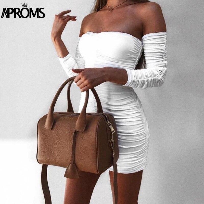 Aproms Black Ruched Pleated Short Dress 2020 Winter Club Women Sheath Bodycon Dresses Sexy Off Shoulder Mini Dress Vestidos 1
