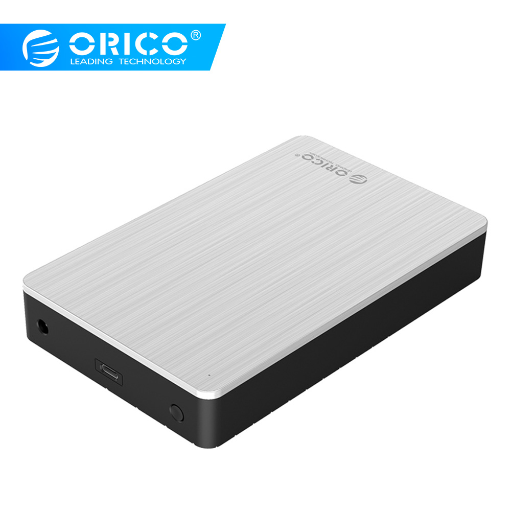 ORICO <font><b>3.5</b></font> inch <font><b>SATA</b></font> to USB C External <font><b>Hard</b></font> <font><b>Drive</b></font> <font><b>Enclosure</b></font> Type-C USB3.1HDD Case Aluminum For 8TB HDD SSD With 12V Power Adapter image