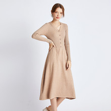 Sweater Dress Women 2019 Fashion Autumn Winter V Neck Loose Pleated Buttons Pattern Casual Ladies Long Knitted Dresses Plus Size vestidos elegant sweater dress women v neck warm knitted autumn casual winter dresses women 2016 plus size lj7214t
