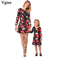 Vgiee Mother Daughter Dresses Girl Baby Christmas Dress Cotton Print Full Pattern for Cartoon Mommy and Me Clothes CC685