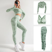 Vrouwen Camo Yoga Set 3pcs Camouflage Sport Beha Lange Mouw Hoge Taille GYM Running Leggings Broek Fitness Pak workout leggins()